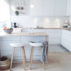 Just adore the kitchen of @frukleppa  (plus she has my favourite stools) | I only have a couple of these House Doctor Block rugs left, but lots of woven belly baskets in different sizes in the #immyandindi online store