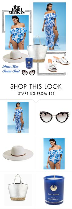 """Plus size swim suit"" by ladeesse on Polyvore featuring mode, Polaroid, Miu Miu, Melissa Odabash et Hightide Devon"