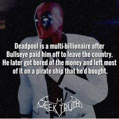 Deadpool just being deadpool - Marvel FACT ! Deadpool Facts, Marvel Facts, Marvel Memes, Marvel Dc Comics, Marvel Avengers, Deadpool Funny, Marvel Funny, Comic Book Characters, Comic Character