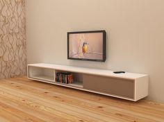 Werktekening / bouwtekening voor XL versie van hangend TV meubel 'Arturo': Uitgevoerd in gelakt MDF Er is plaats voor DVD's en apparaten. Een flatscreen TV kan boven het meubel worden opgehangen, of op het dressoir worden geplaatst. Modern meubeldesign kun je zelf maken