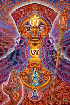 My most recent portrait of Padmasambhava is called Vajraguru. The mantra Om (head) Ah (throat) Hung (heart) are the seed syllables of all the Buddhas and enlightened beings. The Vajra is a spiritual tool symbolizing the power of wisdom. Alex Grey, Alex Gray Art, Tibetan Buddhism, Buddhist Art, Art Visionnaire, Tibet Art, Vajrayana Buddhism, Eugenia Loli, Les Chakras