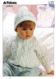 Patons 4504 cable design zip up cardigan beanie hat by Ellisadine, £1.00