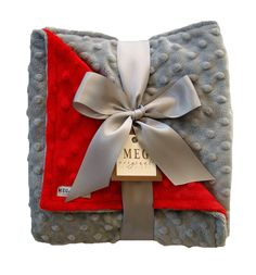 Silvery Gray and Red Minky Baby Blanket-Personalize with a Festive Color for the perfect Holiday Gift!