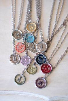 PINK Personalized GIFT IDEA / Initial Wax Seal Pendant /  a b c d e f g h i j k l m n o p r s t u v w z. $23.00, via Etsy.