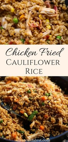 Chicken Fried Cauliflower Rice is a healthy, clean take on the original Chinese . Chicken Fried Cauliflower Rice is a healthy, clean take on the original Chinese restaurant-style fried rice recipe that comes together in 10 minutes and tastes amazing! Chicken Fried Cauliflower Rice, Cauli Rice, Healthy Chicken, Fried Chicken, Chicken Recipes, Healthy Fried Rice, Cauliflour Rice Recipes, Coliflower Rice Recipe, Recipes