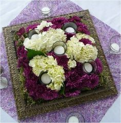 love it for low centerpiece with candles. frame and flower base