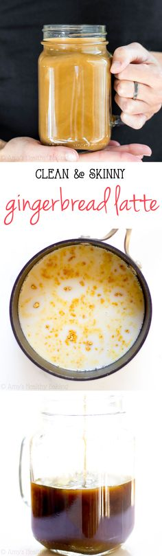 Skinny Gingerbread Latte -- a healthy copycat that tastes even better than the coffee shop's! Skip the long lines & make your own for a fraction of the cost!