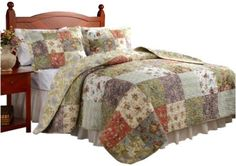 Queen Quilt Set Greenland Home Blooming Prairie Full Queen Quilt Set Gift NEW #GreenlandHome