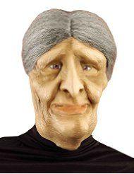Senior Old Woman Mask Wrinkle Witch OAP Halloween Rubber Fancy Dress Hair