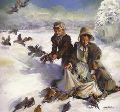Miracle of the Quail Snowy  Pricing: 18X20 Limited Edition Giclee Framed - $440.00 24X26 Limited Edition Giclee Framed - $695.00