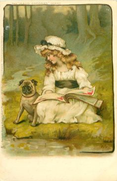 MAUD GOODMAN - girl & pug dog, sitting at water's edge with book on her lap
