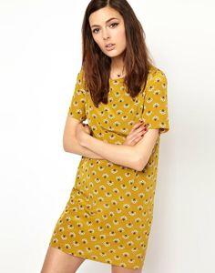 Yellow Short Sleeve Dandelion Print Dress - Sheinside.com