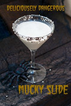 Mucky Slide Hi.remember me? Has it REALLY been almost 3 (gasp) weeks since my last post?I am soo . Cocktail Desserts, Cocktail Drinks, Cold Drinks, Fun Drinks, Yummy Drinks, Cocktail Recipes, Alcoholic Drinks, Drink Recipes, Halloween Cocktails