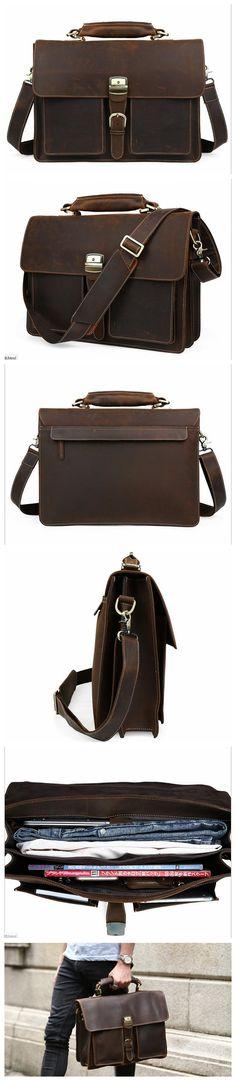 Handmade Italian Full Grain Vintage Brown Leather Briefcase Men Laptop Bag Handbags