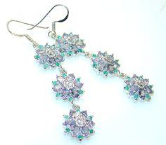 $122.15 Very Fancy Tanzanite & Emerlad Sterling Silver earrings at www.SilverRushStyle.com #earrings #handmade #jewelry #silver #tanzanite