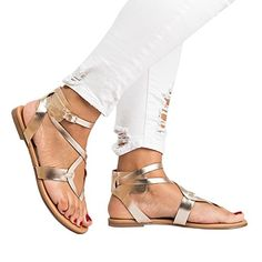 8e75cd9c6f784a Pure Color Straps Thong Ankle Strap Women Flat Beach Sandals – Oh Yours  Fashion
