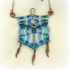 Blue moon macrame necklace  purple and blue por MammaEarthCreations, $34.00