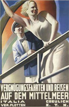 By Gino Boccasile (1901-1952), 1934,  Italia Cosulich Vergnügungsfahrten. (I)