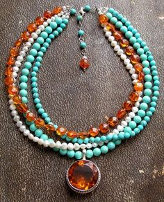 Bead Lover's Torsade - No27/Amber, FWPearl, Turq, Quartz, Sterling | miabellacollection-jewelry - Jewelry on ArtFire