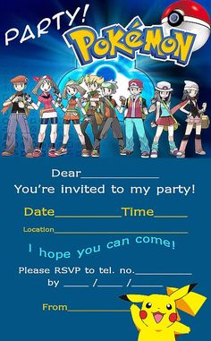 POKEMON COLORING PAGES: POKEMON FREE PARTY INVITATIONS