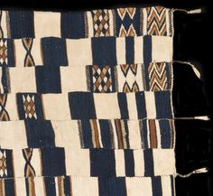 FR547 - Unique variant on a rare style of prestige wedding hanging that was woven by weavers of the Songhay ethnic group in Mali. Called arkilla jenngo these wool cloths were characterised by complex patterns executed using the tapestry weave technique set on a dark blue and white wool ground, as is the case with this cloth. However a typical arkilla jenngo would be much larger