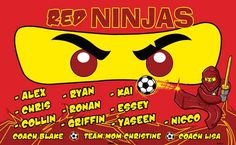 Red Ninjas B54027  digitally printed vinyl soccer sports team banner. Made in the USA and shipped fast by BannersUSA.  You can easily create a similar banner using our Live Designer where you can manipulate ALL of the elements of ANY template.  You can change colors, add/change/remove text and graphics and resize the elements of your design, making it completely your own creation.