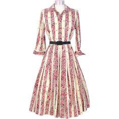 Vintage 1950s Puritan Pink Novelty Print Butterflies & Blossoms Silk Dress M