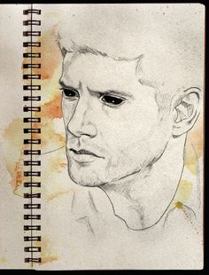 Demon Dean water color. I wonder how this would look with Sam with angel eyes with blue and white behind him.