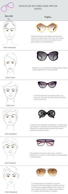 óculos de sol para cada tipo de rosto Óculos Escuros Feminino, Rosto Oval,  Rostos abd8304c78