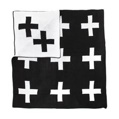 Modern Burlap Reversible Swiss Cross Blanket - This soft over sized monochrome swiss cross knit blanket is perfect for the whole family! It's big enough to snuggle up under on the sofa, and cosy enough to use as a baby blanket. It also looks great on the bed in a toddler / childs room. We love the large black and white grid design which is reversible, so you get two looks in one!