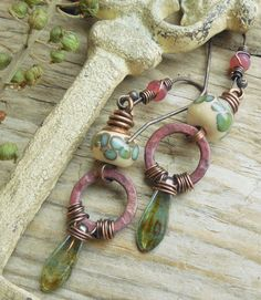 Patinated rings, Czech glass and lampwork beads.