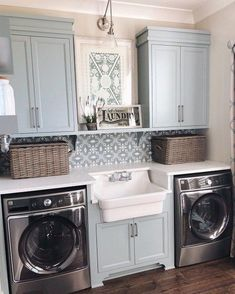 modern farmhouse laundry room with laundry room organization, laundry room storage, neutral laundry room with open shelves with farmhouse sink and cement tile backsplash Room Makeover, Room Design, Laundry Mud Room, Interior, Dream Laundry Room, Room Inspiration, Room Remodeling, Sweet Home, Laundry