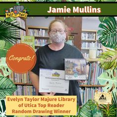 #SUMMERREADING PROGRAM HIGHLIGHT: Congratulations to Jamie Mullins, the Top Reader at the Evelyn Taylor Majure Library of Utica! Jamie won Malco passes, new books and a Google prize pack, and is a random drawing winner of a U.S. Census prize pack. Enjoy! 🥳 See who else has won at jhlibrary.org/srp21winners. #SummerReadingProgram #SRP #SRP2021 #TailsAndTales Summer Reading Program, New Books, Congratulations, Jackson, Baseball Cards, Drawings, Highlight, Face, Random