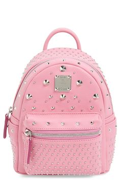 Rose quartz and mixed studs make this mini leather backpack perfect for spring.