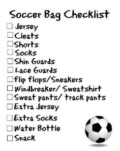 Bag Checklists {Free Printable Soccer moms make sure not to forget your kids stuff for their game, this printable checklist is what you need to stay organized.Lest We Forget Lest We Forget may refer to: Soccer Workouts, Soccer Drills, Soccer Coaching, Soccer Training, Soccer Cleats, Nike Soccer, Soccer Player Workout, Soccer Tournament, Ronaldo Real Madrid