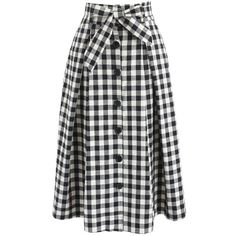 Chicwish Easygoing Gingham Midi Skirt in Black (130 PEN) ❤ liked on Polyvore featuring skirts, black, calf length skirts, gingham skirt, midi skirt, chicwish skirt and mid-calf skirt