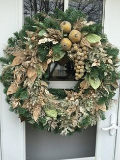 Sale!! Gold Frosted Fruit with Glittered Berries and Leaves Wreath Christmas Wreaths For Front Door, Small Christmas Trees, Gold Christmas, Easter Wreaths, Holiday Wreaths, Beautiful Christmas, Christmas Crafts, Christmas Decorations, Spring Wreaths