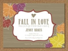 Fall in love bridal shower invitation love leaves heart autumn fall in love bridal shower invitation love leaves heart autumn orange red brown rustic customize your color printable file events pinterest filmwisefo Gallery