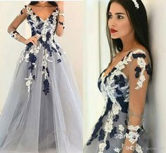 2017 New Sexy Prom Dresses V Neck Illusion Long Sleeves Lace Appliques Long Gray Tulle Open Back Evening Dress Party Pageant Formal Gowns 2017 Prom Dresses Lace Prom Dresses Prom Dresses Long Online with 156.58/Piece on Haiyan4419's Store | DHgate.com