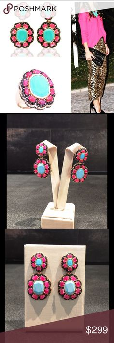 Chandelier earrings with Rubi and Turquoise. One-of-a-kind Brazilian design earrings with precious gemstones. Mix of red and blue is an amazing combination of Rubi and turquoise. Earrings are made of Sterling Silver 925, overlay with high quality yellow gold. This unique piece of earrings looks like fancy high end Jewelry. Those are not from Stella and Dot, just to catch people's eyes. Hope you like unique design and Brazilian precious gems. Diane von Furstenberg Jewelry Earrings