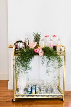 Add flower/greens to decorate party bar cart