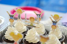 gymnastics birthday party - invite, cupcake toppers & water bottle favors