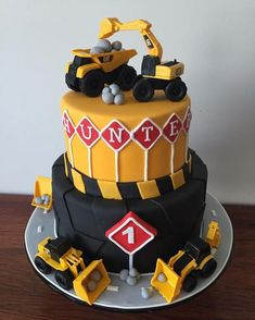 Diggers & dumptruck themed birthday cake for a little guy's big first birthday! … Diggers & dumptruck themed birthday cake for a little guy's big first birthday! Digger Birthday Cake, Digger Birthday Parties, Tractor Birthday Cakes, Digger Cake, Birthday Cake For Cat, Thomas Birthday, Themed Birthday Cakes, First Birthday Cakes, 3rd Birthday