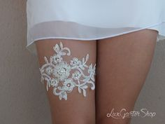 Ivory Wedding garter bridal garter lace ivory handmade with sewing sequins beads pearl lace bridal garter garters free shipping on Etsy, $25.00