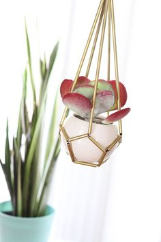 """This adorable little brass tubing planter has been making its way around Pinterest lately —and for good reason. It's just as fun as it is affordable and stands about 18"""" tall so it's a perfect addition to any small space!"""