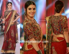 Isha Talwar walked the ramp for Paarvati Sarawathy at the Kerala Fashion League 2018 wearing a kalamkari handloom saree paired with high neck kalamkari blouse. Antique jewelry and a sleek bun rounded out her look!  Kalamkri sarees 2018, kalamkari blouse designs, long blouse designs, long choli