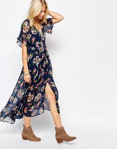 Abercrombie & Fitch Floral Chiffon Print Flutter Sleeve Maxi Dress