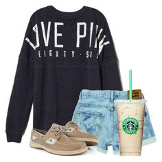 A fashion look from June 2016 featuring victoria's secret pink sweatshirts, high-waisted jean shorts and sperry top-sider shoes. Browse and shop related looks. Vs Pink Outfit, Pink Outfits, Summer Outfits, Casual Outfits, Cute Outfits, School Outfits, Tween Fashion, Black Girl Fashion, Popular Outfits