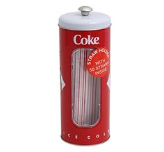 Coca-cola Tin Collectible Drinking Straw Holder Dispenser With 50 Straws  Measures 8.25 inches tall  ^Made of tin^Window on one side of can to view straws  Coke bottle pictures on back of can^50 striped straws included^Great for collectors!