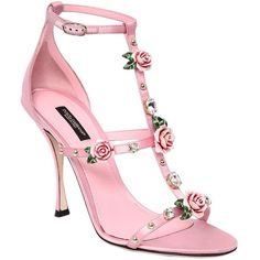Dolce & Gabbana Women 105mm Keira Embellished Satin Sandals (40.080 UYU) ❤ liked on Polyvore featuring shoes, sandals, dolce gabbana shoes, rose sandals, leather sole sandals, studded high heel sandals and studded sandals